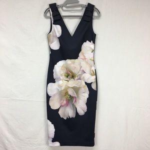 Ted Baker Soleia Gardenia Print Bow Shoulder Dress